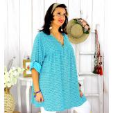 Tunique longue grande taille tencel EPOLYNE turquoise Tunique femme grande taille