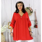 Tunique longue grande taille tencel EPOLYNE rouge Tunique femme grande taille
