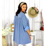 Tunique longue grande taille tencel EPOLYNE bleu Tunique femme grande taille