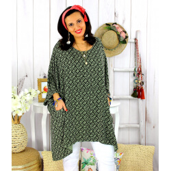 Tunique longue femme grande taille tencel LARGO kaki Tunique femme grande taille