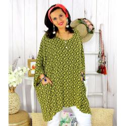 Tunique longue femme grande taille tencel LARGO jaune Tunique femme grande taille