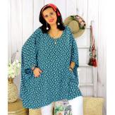 Tunique longue femme grande taille tencel LARGO turquoise Tunique femme grande taille