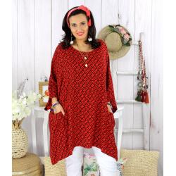 Tunique longue femme grande taille tencel LARGO rouge Tunique femme grande taille