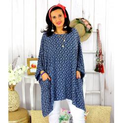 Tunique longue femme grande taille tencel LARGO bleue Tunique femme grande taille