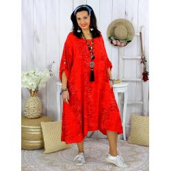 Robe femme grande taille bohème zèbre REGENT rouge Robe grande taille