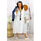 Robe femme grande taille bohème zèbre REGENT blanche Robe grande taille