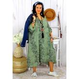 Robe femme grande taille bohème zèbre REGENT kaki Robe grande taille