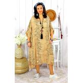 Robe femme grande taille bohème zèbre REGENT camel Robe grande taille
