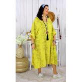 Robe femme grande taille bohème zèbre REGENT jaune Robe grande taille