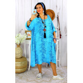 Robe femme grande taille bohème zèbre REGENT turquoise Robe grande taille