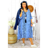 Robe femme grande taille bohème zèbre REGENT bleu jean Robe grande taille
