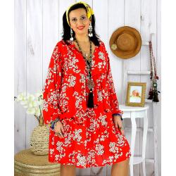 Robe tunique grande taille fleurie IMPERIAL rouge Robe tunique femme grande taille