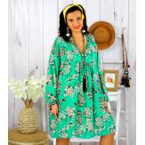 Robe tunique grande taille fleurie IMPERIAL vert pomme Robe tunique femme grande taille