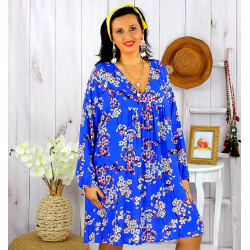 Robe tunique grande taille fleurie IMPERIAL bleu roi Robe tunique femme grande taille