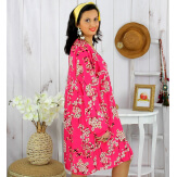 Robe tunique grande taille fleurie IMPERIAL fuchsia Robe tunique femme grande taille