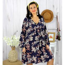 Robe tunique grande taille fleurie IMPERIAL marine Robe tunique femme grande taille