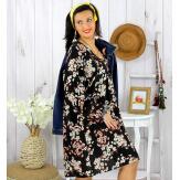Robe tunique grande taille fleurie IMPERIAL noire Robe tunique femme grande taille