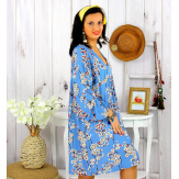 Robe tunique grande taille fleurie IMPERIAL bleu ciel Robe tunique femme grande taille
