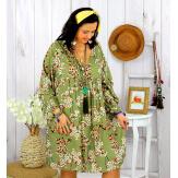 Robe tunique grande taille fleurie IMPERIAL kaki Robe tunique femme grande taille