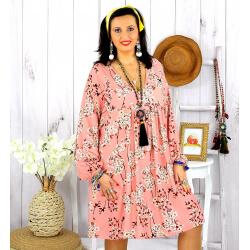 Robe tunique grande taille fleurie IMPERIAL rose Robe tunique femme grande taille
