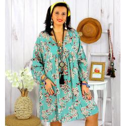 Robe tunique grande taille fleurie IMPERIAL vert celadon Robe tunique femme grande taille