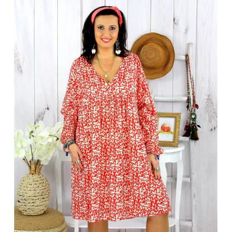Robe tunique grande taille liberty HAVANA rouge Robe tunique femme grande taille