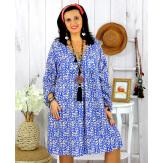 Robe tunique grande taille liberty HAVANA bleu roi Robe tunique femme grande taille