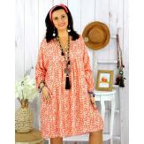Robe tunique grande taille liberty HAVANA corail Robe tunique femme grande taille