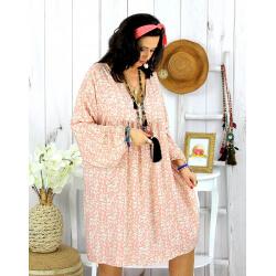 Robe tunique grande taille liberty HAVANA rose Robe tunique femme grande taille