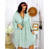 Robe tunique grande taille liberty HAVANA bleu ciel pastel Robe tunique femme grande taille