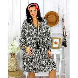 Robe tunique grande taille liberty HAVANA noire Robe tunique femme grande taille