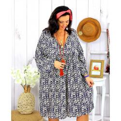 Robe tunique grande taille liberty HAVANA marine Robe tunique femme grande taille