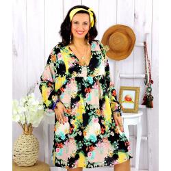 Robe tunique grande taille fleurie PEOPLE noire Robe tunique femme grande taille