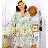 Robe tunique grande taille fleurie PEOPLE gris clair Robe tunique femme grande taille