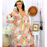 Robe tunique grande taille fleurie PEOPLE rose Robe tunique femme grande taille