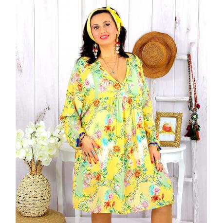 Robe tunique grande taille fleurie PEOPLE jaune Robe tunique femme grande taille