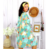 Robe tunique grande taille fleurie PEOPLE vert pastel Robe tunique femme grande taille