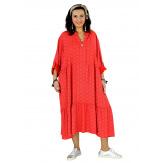 Robe longue bohème grande taille coton LISBOA rouge Robe été grande taille