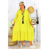 Robe longue bohème grande taille coton LISBOA jaune Robe été grande taille