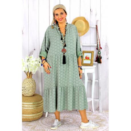 Robe longue bohème grande taille coton LISBOA kaki Robe été grande taille