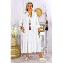 Robe longue bohème grande taille coton LISBOA blanche Robe été grande taille