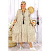 Robe longue bohème grande taille coton LISBOA camel Robe été grande taille