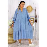 Robe longue bohème grande taille coton LISBOA bleu jean Robe été grande taille
