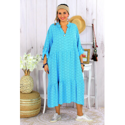 Robe longue bohème grande taille coton LISBOA turquoise Robe été grande taille