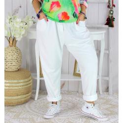 Pantalon jogg femme grande taille stretch SPORTY blanc Pantalon femme grande taille
