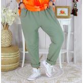 Pantalon jogg femme grande taille stretch SPORTY kaki Pantalon femme grande taille