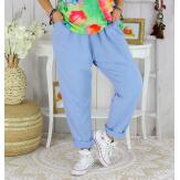 Pantalon jogg femme grande taille stretch SPORTY bleu Pantalon femme grande taille