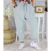 Pantalon jogg femme grande taille stretch SPORTY gris clair Pantalon femme grande taille