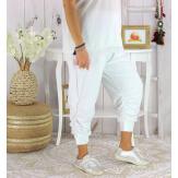 Pantalon legging femme grande taille été LUNI blanc Legging femme