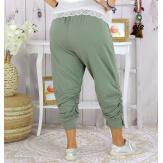 Pantalon legging femme grande taille été LUNI kaki clair Legging femme
